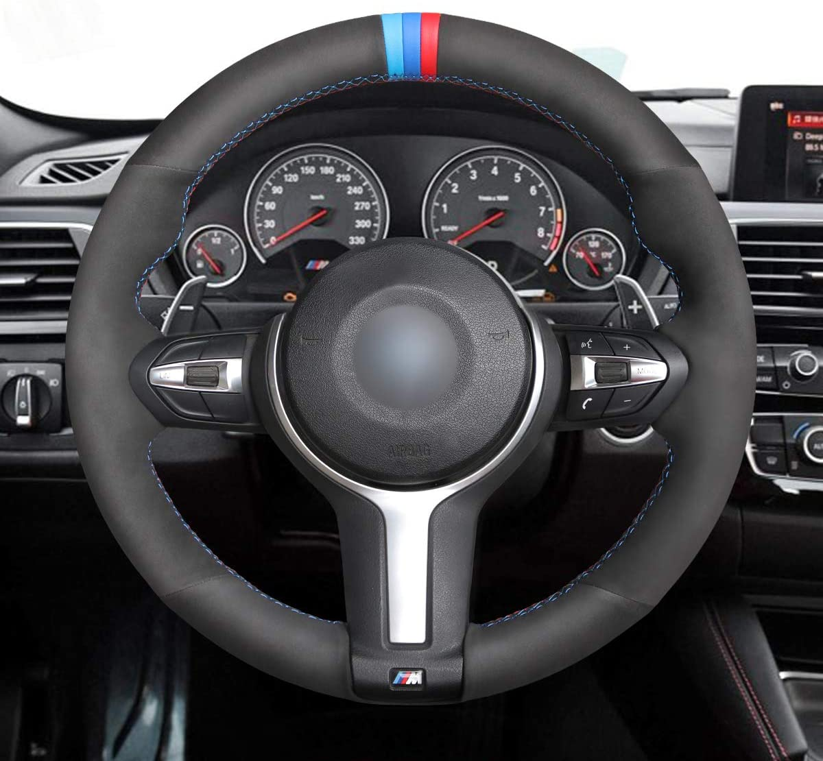Black Suede Car Steering Wheel Covers for BMW F87 M2 2015-2017 F80 M3 F82 M4 2 M5 2014-2017 F12 F13 M6 F85 X5 M F86 X6 M F33 2013-2017 F30 M Sport 2013-2017 MEWANT Hand-Stitch 1.2mm Thickness