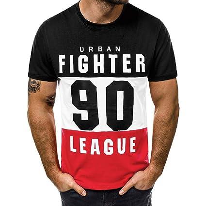 ef471dc3 YKARITIANNA Fashion Men's Casual Slim Letter Printed Short Sleeve T Shirt  Top Blouse
