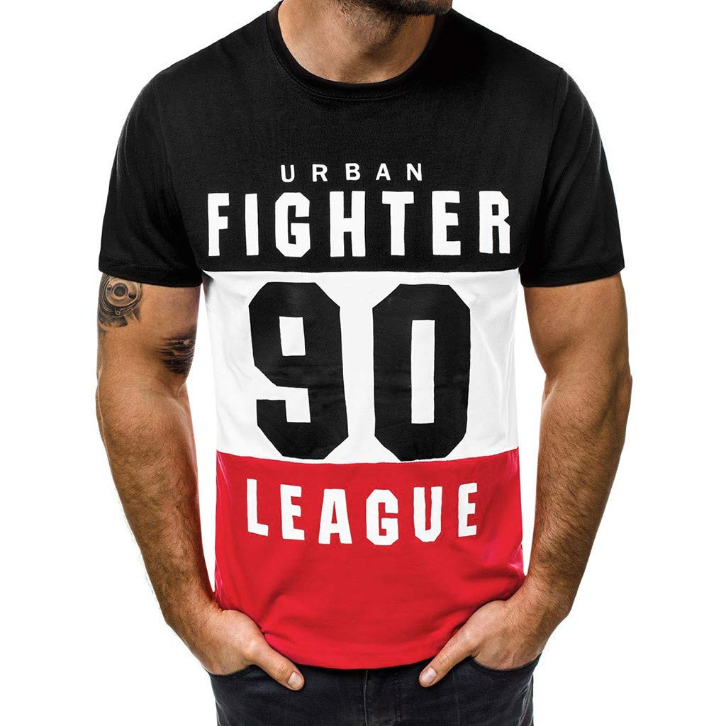 Casual Tops with Sleeves,Fashion Men's Casual Slim Letter Printed Short Sleeve T Shirt Top Blouse,Black,M