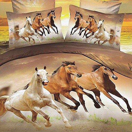 Galloping Horse Bedding Sets, 100% Polyester 3d Bedding Sets, 4pcs with Duvet Cover, Bed Sheet, 2pillow Case (Comforter Not Included) Twin (Twin Horse Comforter)
