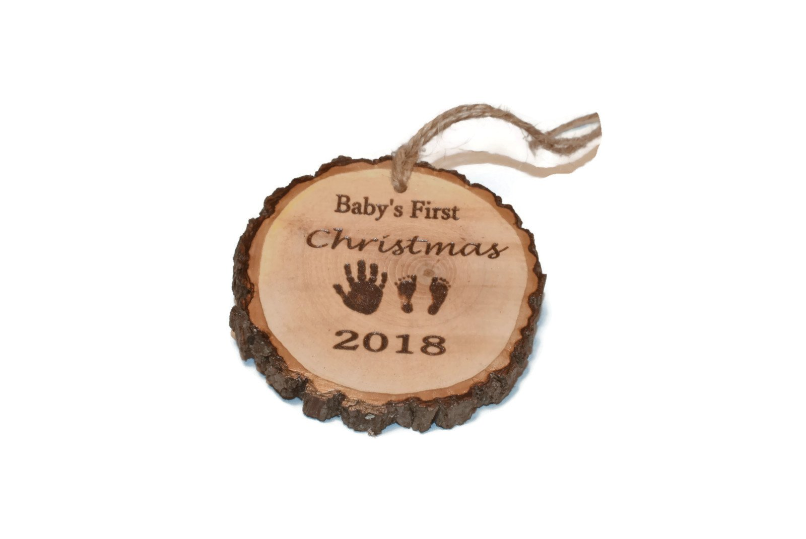 Baby's First Christmas wood slice ornament, hand- feet