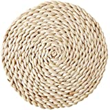 SoundsBeauty Rattan Weave Round Oval Placemat Dining Table Heat Insulation Mat Kitchen Decor - Round 11cm