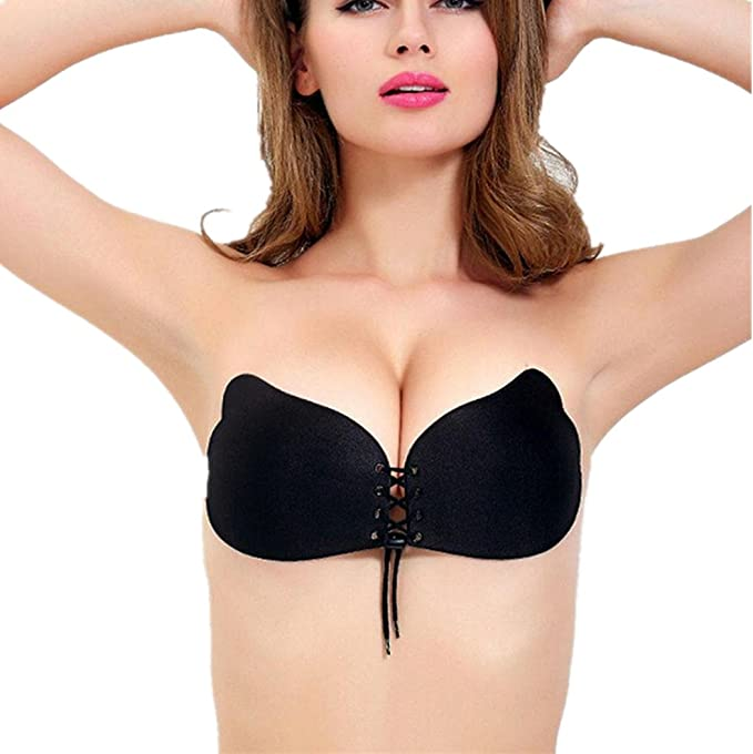 Sujetador sin tirantes, koly Shinymod backless auto-adhesivo silicona invisible push up Bra pegajosa