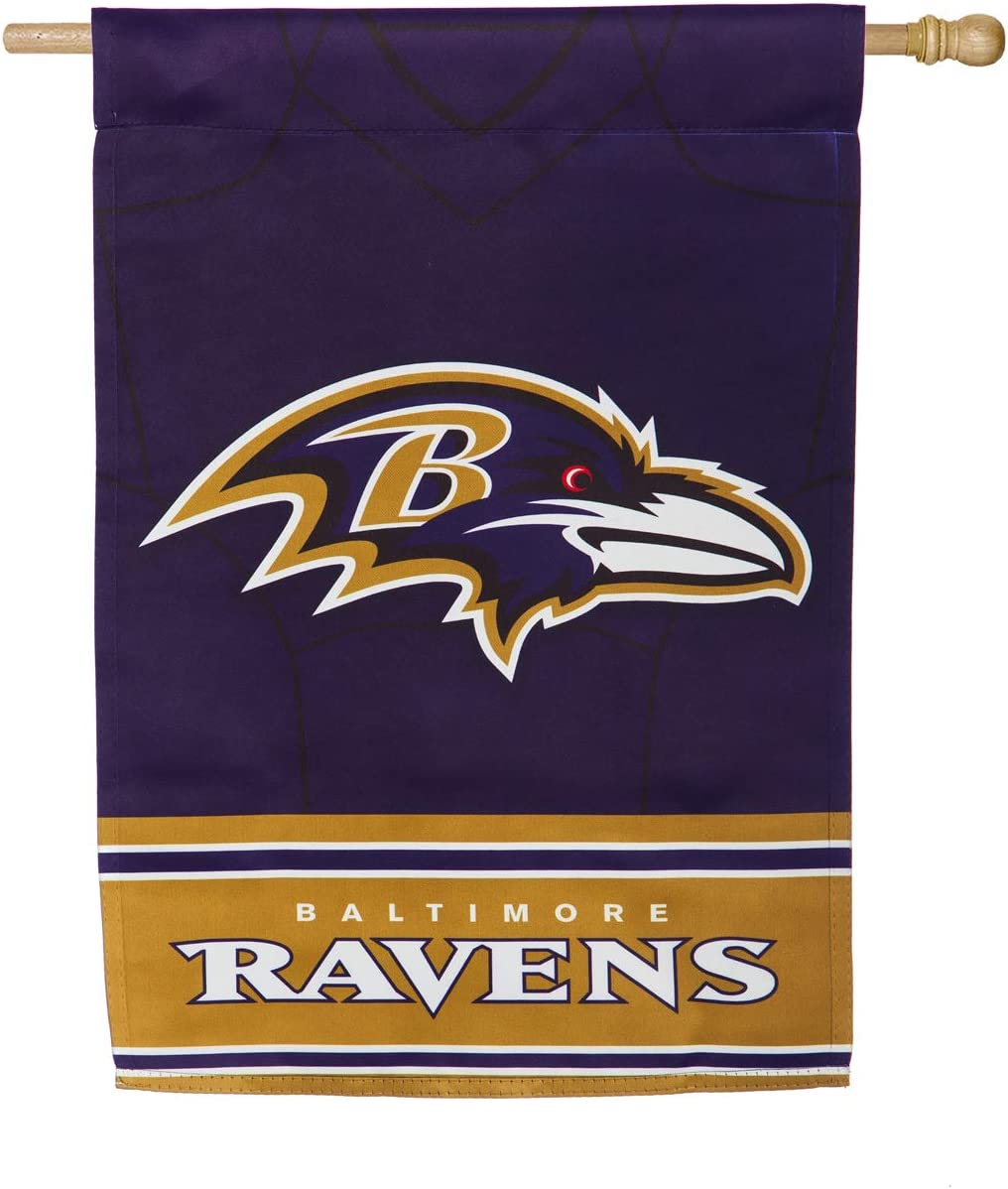 Team Sports America Double Sided Jersey Flag for Ravens Fans! Officially Licensed Baltimore Ravens Weather and Fade Resistant Outdoor Flag 43 x 29 Inches