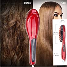 YOUNGFLY 29W Digital Anti Static Hair Straightener Instant Magic Silky Straight Styling Massage Straightening Iron Paddle Brush Brushes,Red