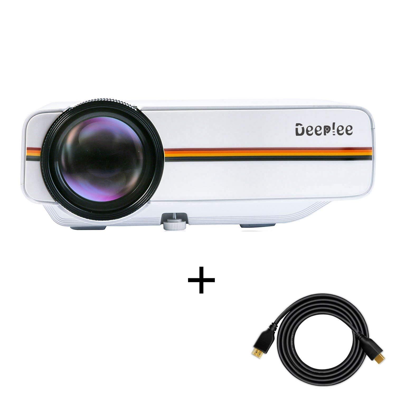 Deeplee DP400 Mini Proiettore, Max 150 Pollici di Schermo, Supporto USB / SD / VGA / HDMI / AV, Connessione a TV Stick / Console Giochi / Laptop / MacBook / TV, Proiettore Portatile con cavo HDMI e AV - Nero DP400B