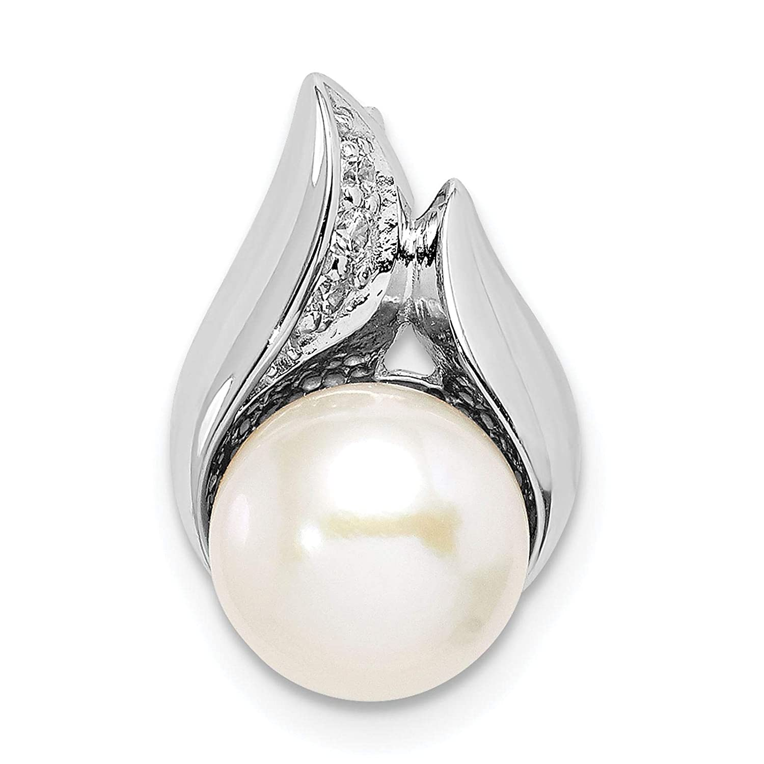 925 Sterling Silver Rhodium-plated 8-9mm Button Freshwater Cultured Pearl /& CZ Chain Slide Charm Pendant