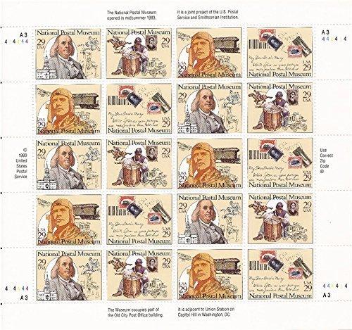 National Postal Museum Sheet of Twenty 29 Cent Stamps Scott (Postage Stamp Museum)