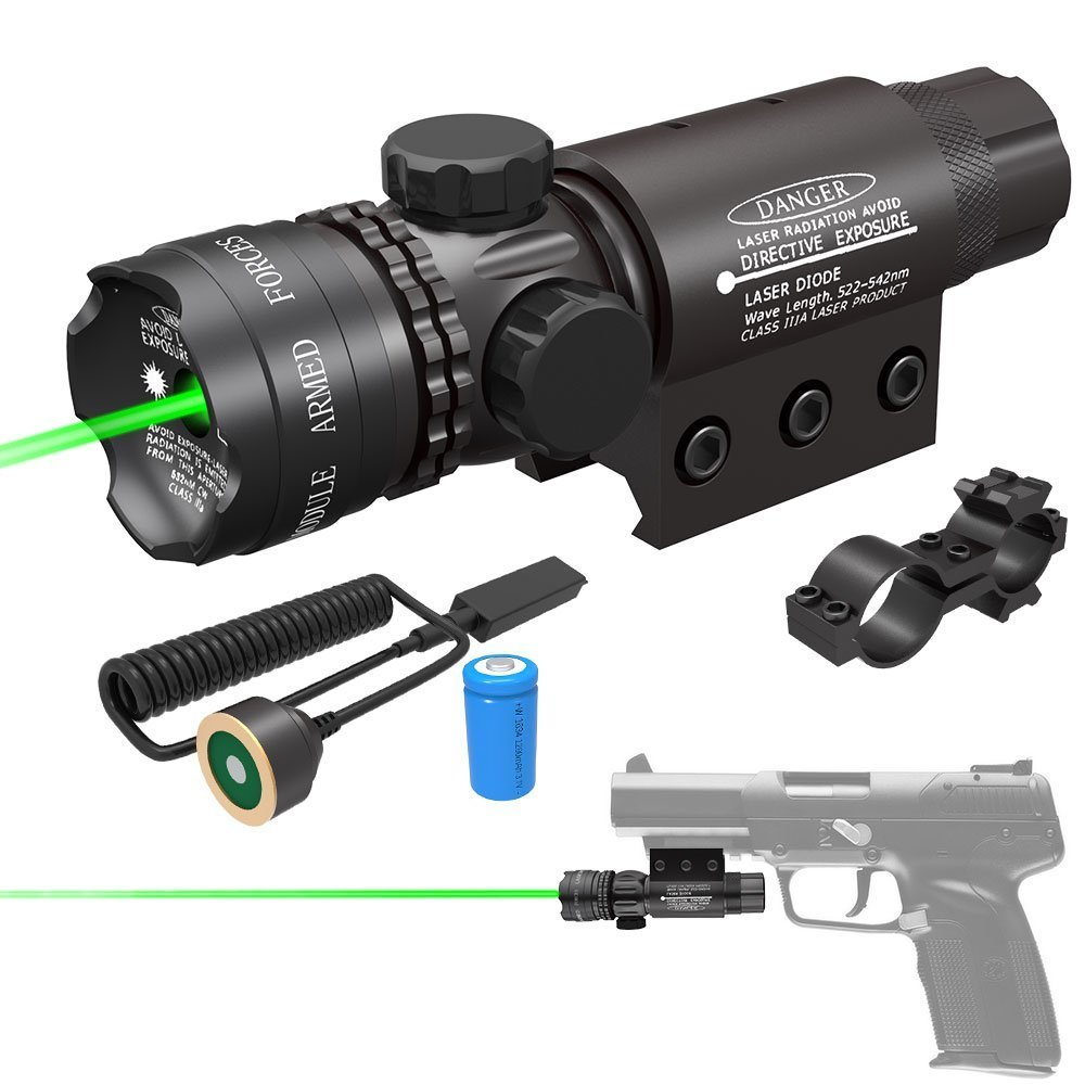 Feyachi Tactical Green Laser Sight 532nm with Picatinny Rail Mount Pack, Black