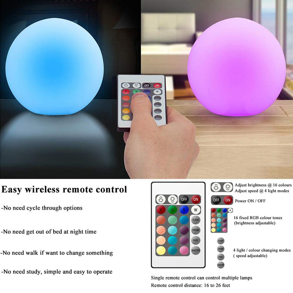 AbbottoKaylan RGB Color-Changing LED Light Ball with Remote Rechargeable Kids Night Light Mood Lamp 16 Dimmable Colors & 4 Modes Ideal for Kids Bedroom Garden Pool Party Decoration (4.7'') by AbbottoKaylan (Image #3)