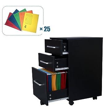 Armario de madera móvil Devaise con 3 cajones, mueble archivador para A4, color Black-with Suspension Files: Amazon.es: Hogar