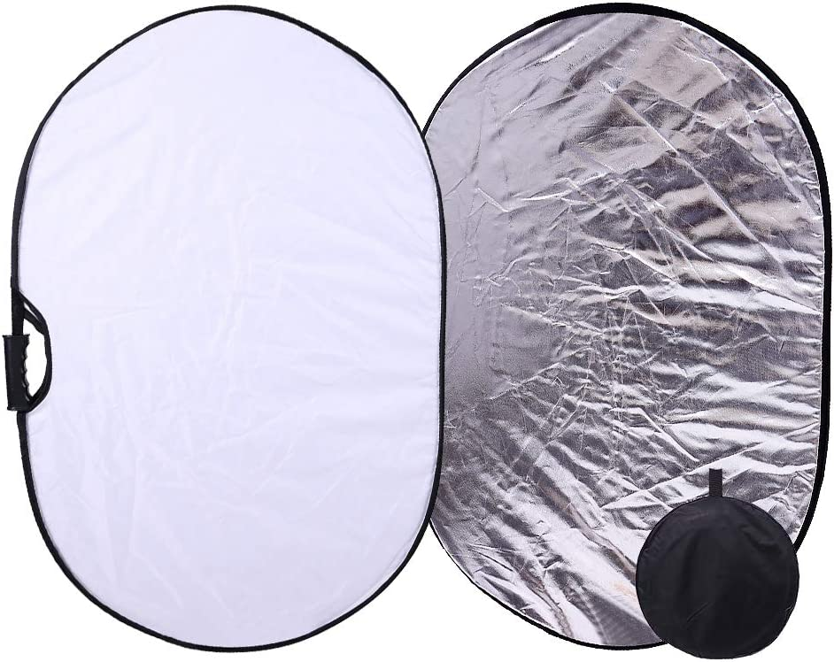 Yuehjnba Photographic Reflector 10 Pcs 5-in-1 Collapsible Multi-Disc Light Reflector Gold Silver Black White Soft Light Five Colors Foldable Background Board 60cm Suitable for Photographers