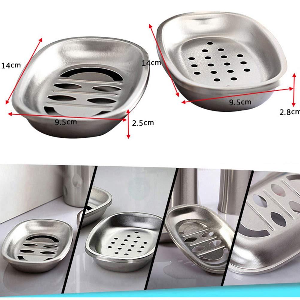 dot OUNONA portasapone supporto doppio strato in acciaio inox/ /Portasapone Tray Soap Box di scarico per doccia bagno ovale