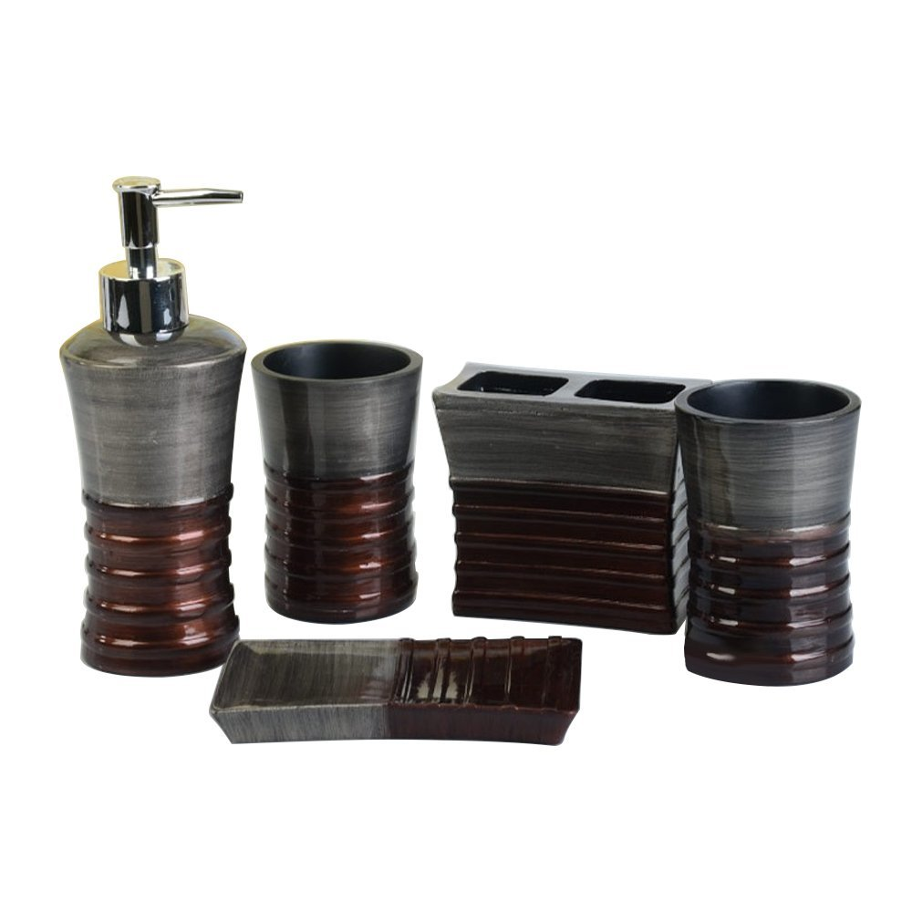 LUANT 5 Pices Bathroom Accessory Set Resin Soap Dish, Soap Dispenser, Toothbrush Holder & Tumbler