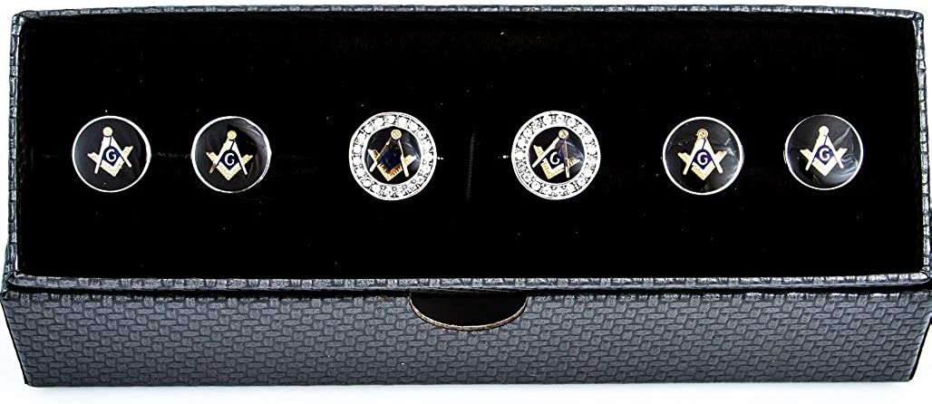 MRCUFF Freemason Masonic Crystal Mason Cufflinks and Studs Tuxedo Set in a Presentation Gift Box & Polishing Cloth