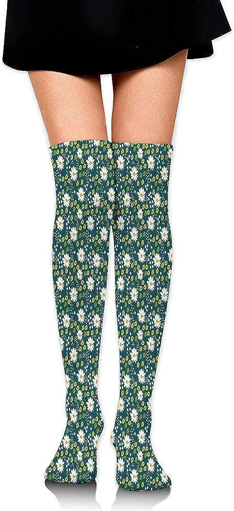 Over Knee High Socks,Feminine Natural Ornament in Ditsy Style Spring Season Chamomiles,60CM