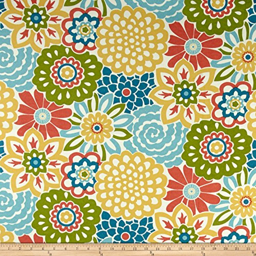 WAVERLY 0458630 Sun N Shade Button Blooms Fruit Cocktail Fabric by The Yard, (Floral Button Fabric)
