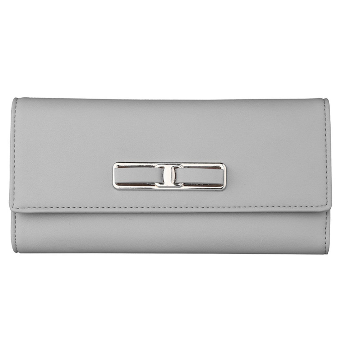 Women Leather Wallet Buckle Clutch Lady Long Purse Girl Zipper Elegant Handbag Card Holder(Grey)