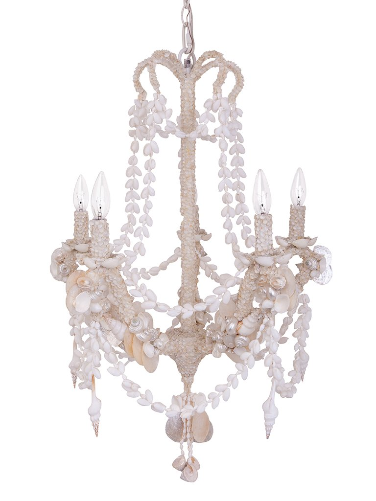 Coastal Christmas Tablescape Décor - White coastal beach seashell encrusted candelabra chandelier