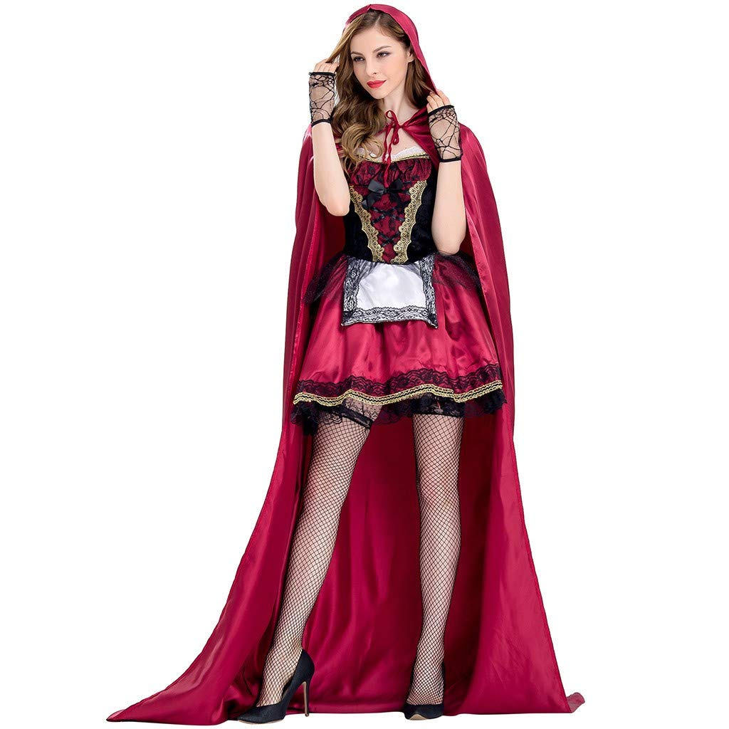 Bravetoshop Women 2 Piece Gothic Little Red-Cap Hooded Party Dress Halloween Costume Cosplay Lace Mini Dress(Red,L)