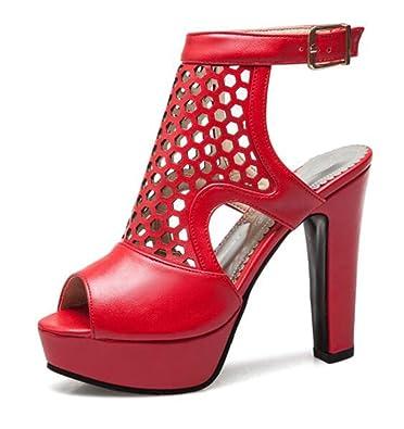 RAZAMAZA Damen Party Blockabsatz High Heel Sandalen Peep Toe T Strap Gladiator Schuhe