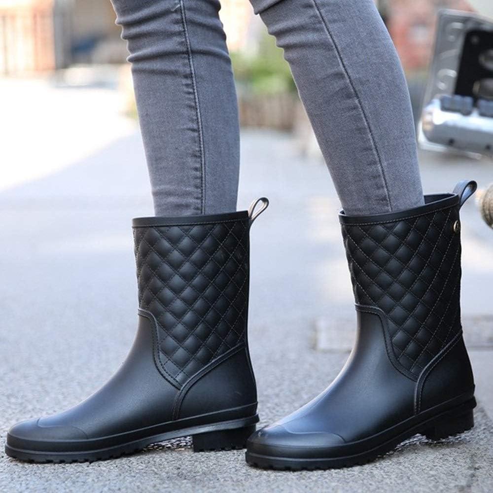 PIJN Botas de Lluvia Cargadores for Las Mujeres señoras de Mediana Botas de Lluvia del jardín Zapatos Negro Caqui Azul Impermeable Negro MaNXk