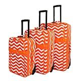 Orange White Lightweight Wheeled Briefcase Chevron Pattern Polyester