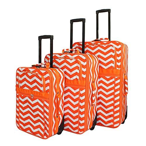 Orange White Lightweight Wheeled Briefcase Chevron Pattern Polyester by DSOS