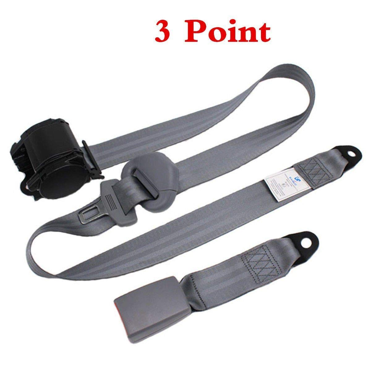 MB-THISTAR 1Set Gray Car Auto Vehicle Adjustable Retractable 3 Point Safety Seat Belt Strap