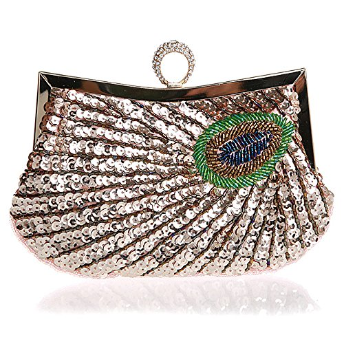Peacock Pink Beaded Handbag Style Evening Folk Wedding Party Clutch Women's Bag Wallet Myleas Cocktail ITqSftwOxn