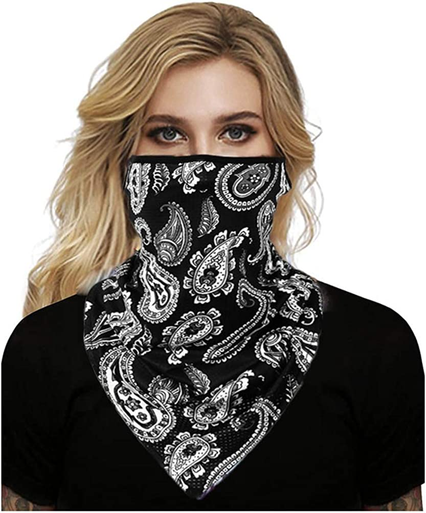 Face Mask Bandana Ear Loops Scarf Mouth Cover Neck Gaiters Sun UV Wind Protection Balaclava for Dust Outdoor Motorcycle