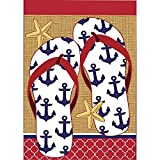 Nautical Anchors and Sea Star Flip Flops 42 x 29 Rectangular Burlap Double Applique Large House Flag Review