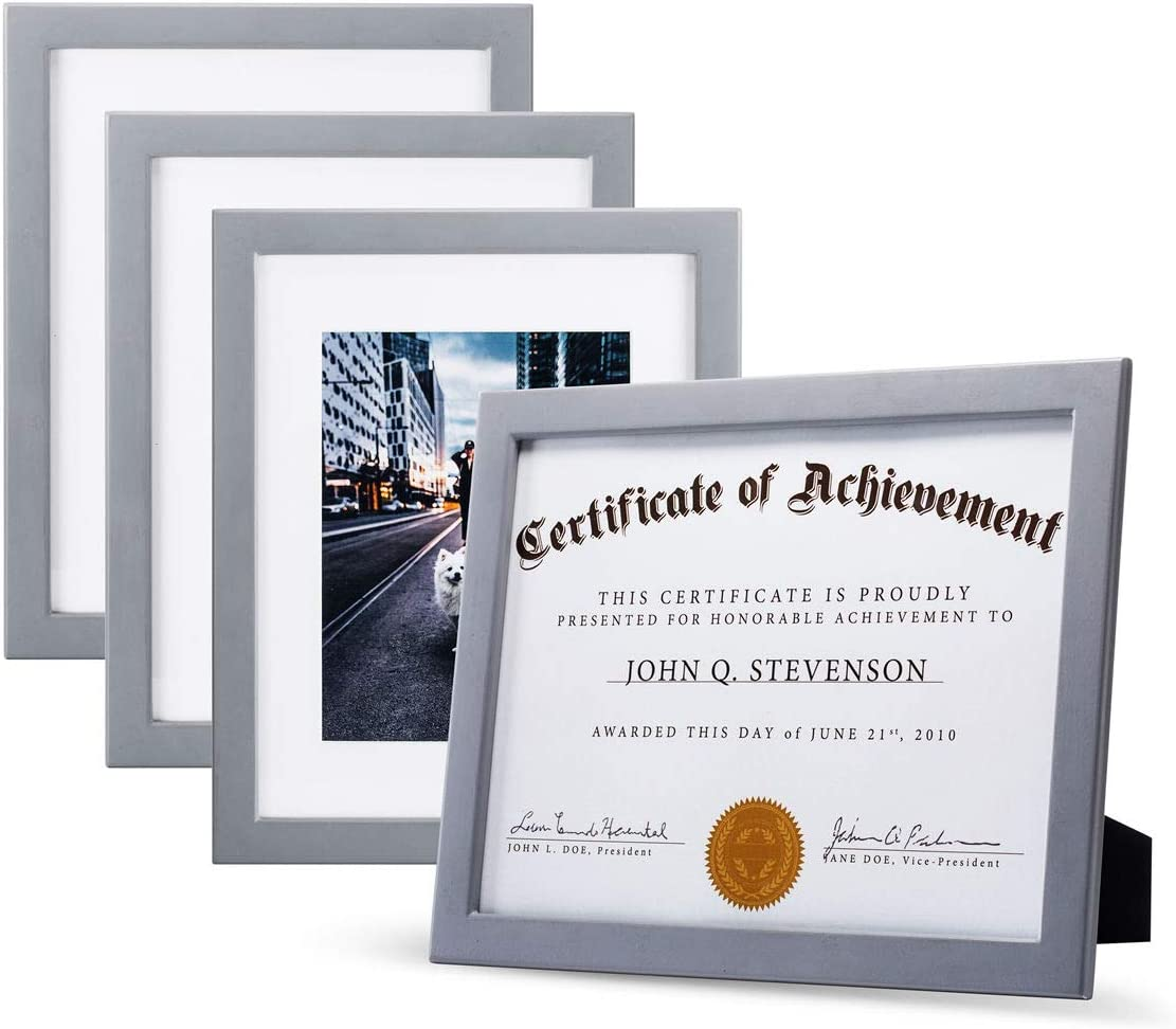 JD Concept 4 Pack, 8.5x11 Gray Wood Photo Picture Frame with Glass, for 6x8 with Mat or 8.5 x 11 Without Mat, Perfect for Document,Diploma,Certificate,Artwork or Prints (Modern Design, Set of 4)