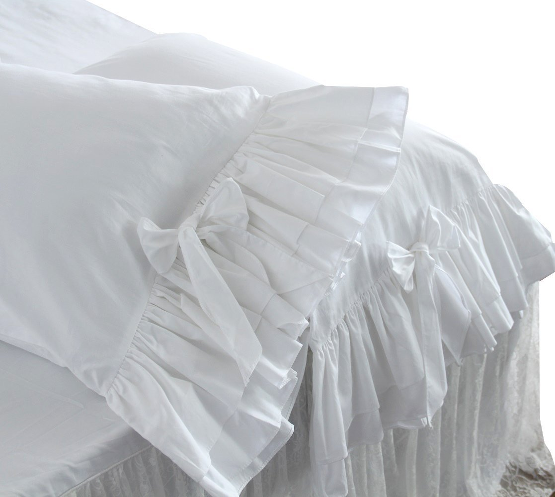 White Ruffle Pillow Shams Standard Queen King Euro Shams Cover Pillowcases White Set of 2