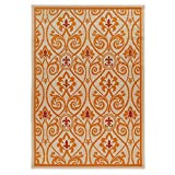 Carpet Art Deco Bellaire Collection Indoor Outdoor Rug, 5'3'' x7'5, Beige/Orange