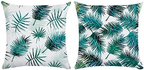 Image ofcaogsh Fundas de cojín, Amazon Rainforest Hojas de Lino para decoración del hogar, algodón Mixto, Color de 2, ●50X50cm(Single-Sided Pattern)