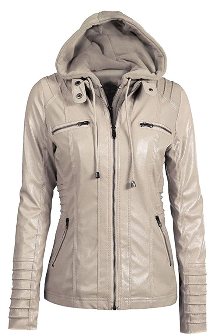 Allonly Women's Hooded Detachable Hat Faux Leather Motorcycle Jacket Coat ALJWJK001
