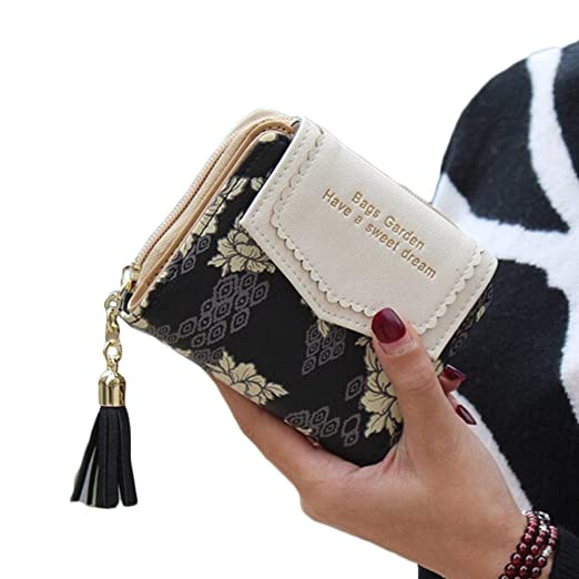 Womens PU Leather Coin Purse Floral Change Wallet Bag Card Holder with Tassel
