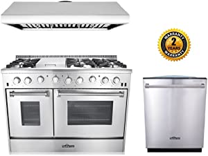 "Thor Kitchen 3-Piece Kitchen Package with HRG4808U 48"" 6 Burner Stainless Steel Gas Range, HRH4806U 48"" Under Cabinet Range Hood In Stainless Steel and HDW2401SS 24"" Dishwasher in Stainless Steel"
