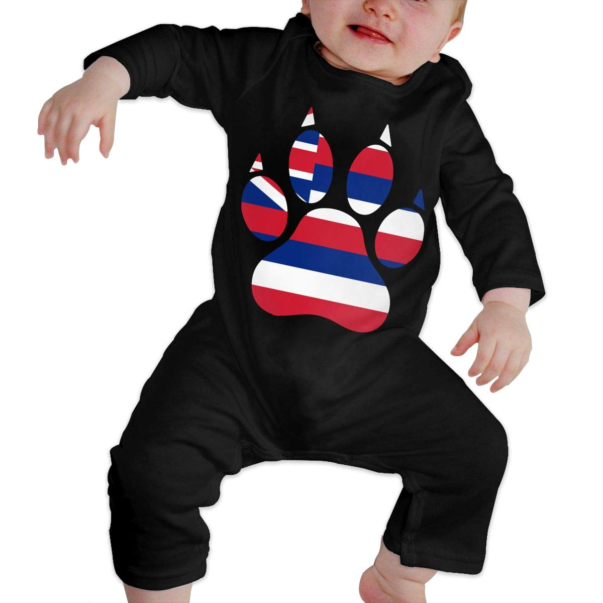 Cute Hawaii Dog Paw Onesies Long Sleeve Cotton Bodysuit for Baby Boys and Girls