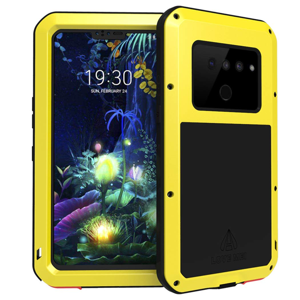LG V50 ThinQ Waterproof Case, Hwota Shockproof Waterproof Dust/Dirt/Snow Proof Aluminum Metal Case Heavy Duty Protection Case Cover for LG V50 ThinQ (Yellow) by Hwota