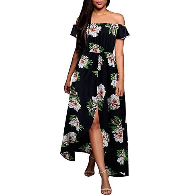 ac2d826b669 GREFER Women Flowers Cold Shoulder Long Evening Party Dress Beach Sundress  Summer Dress at Amazon Women's Clothing store: