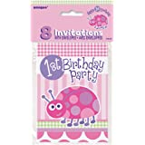 Pink Ladybird 1st Birthday Invitations, Pack of 8