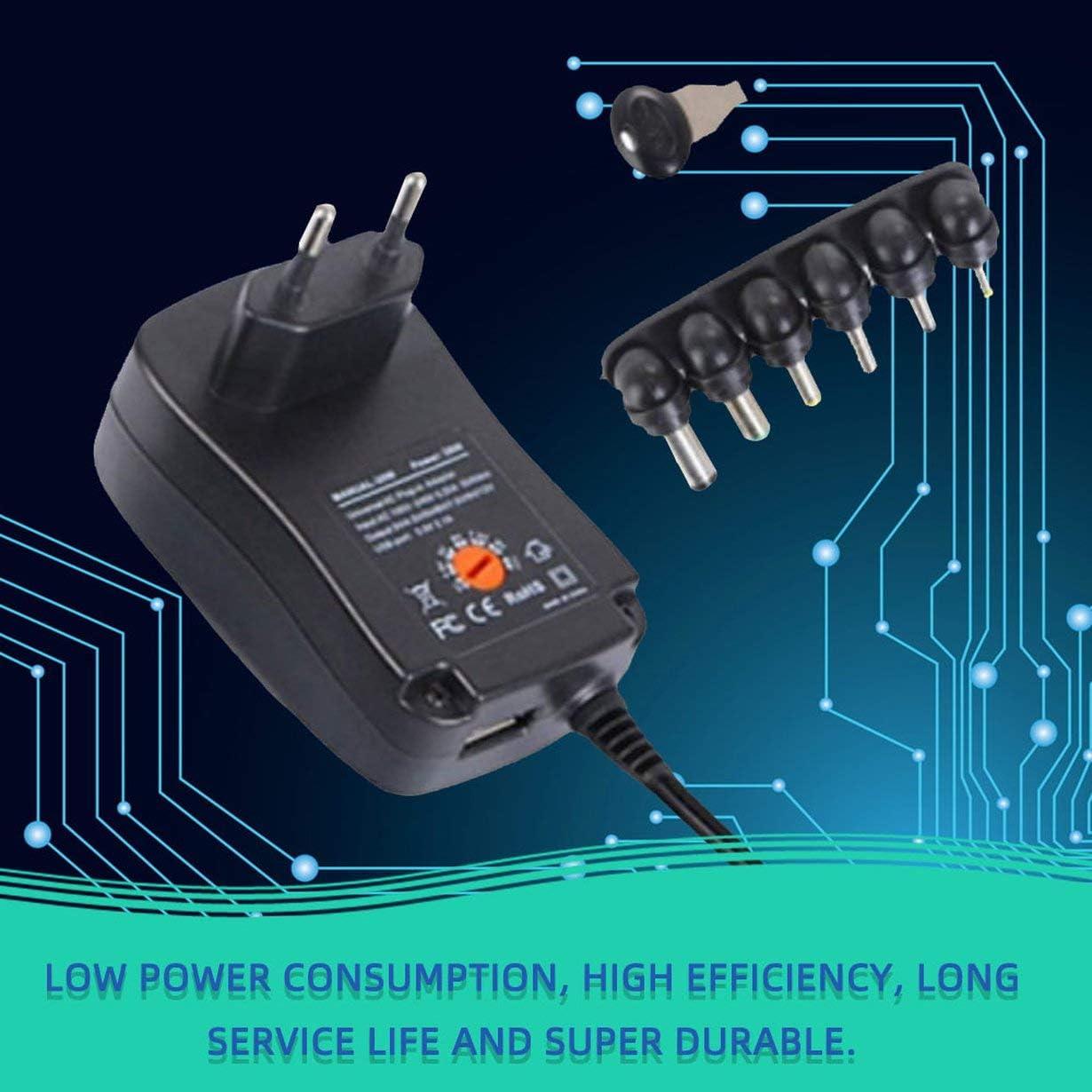 schwarz US 9V 30W Netzteil Universaladapter AC DC 3V 4,5V 7,5V 6V 12V 1,5A einstellbar