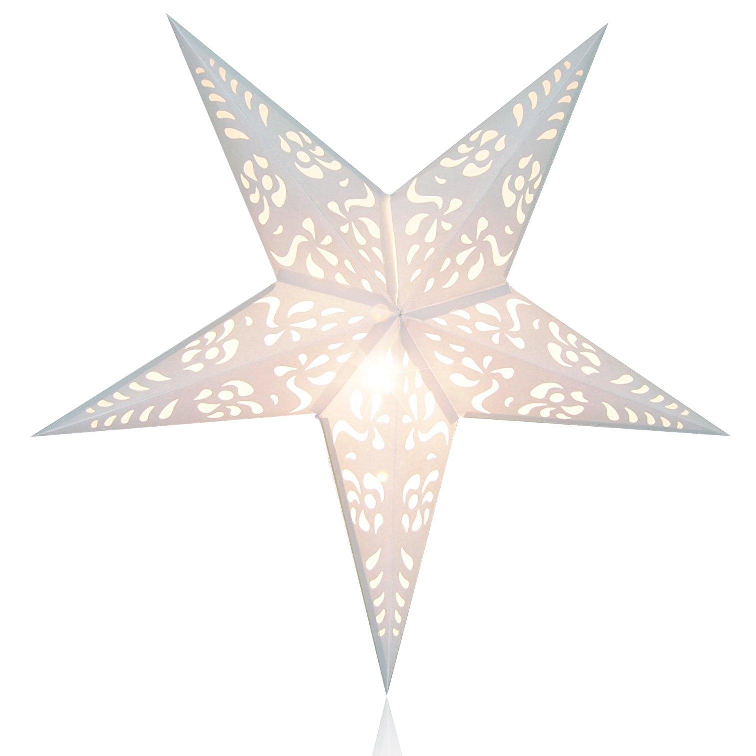 Happy Sales HSSL-FNHTWH, Frozen Night Star Paper Lantern White