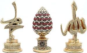 Islamic Gift Table Decor 3 Piece Set Gold Sculptures Arabic Allah Muhammad Ayatul Kursi or ESMA al Husna (Gold/Red with ESMA)