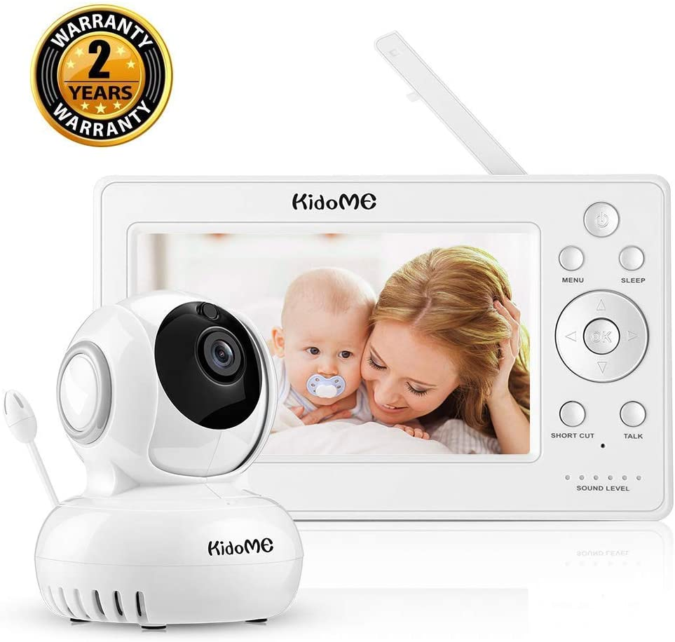 KidoMe Baby Monitor with Camera, Digital Wireless Baby Video Monitor, 5 Inch HD 720P Display, Night Vision, No Need WiFi, Plug and Play, Two Way Audio, Four Types of Sound Temperature Alarm, Lullabies
