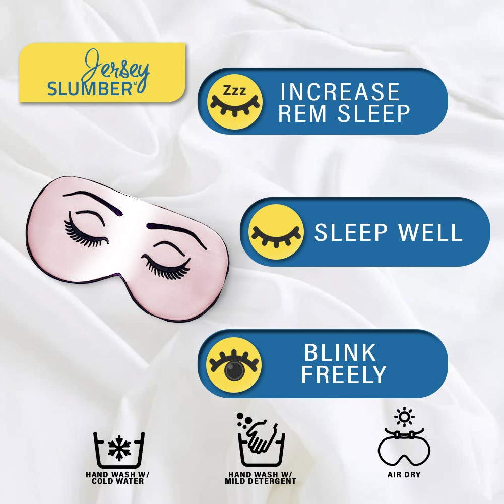 Jersey Slumber 100% Silk Sleep Mask For A Full Night's Sleep | Comfortable & Super Soft Eye Mask With Adjustable Strap | Works With Every Nap Position | Ultimate Sleeping Aid/Blindfold, Blocks Light : Beauty