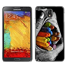 DesignCase Premium Slim PC / Aluminium Case Cover Armor Shell - Colorful Pencils Contrast - Samsung Note 3