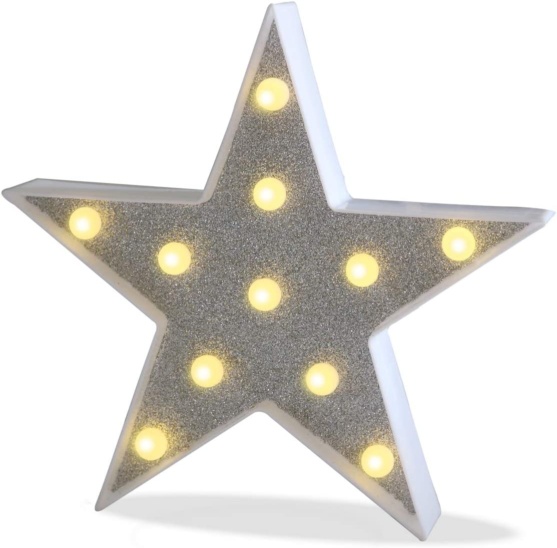 Pooqla DELICORE Marquee Light Star Shaped LED Plastic Sign-Lighted Marquee Star Sign Wall Décor Battery Operated (Giltter Shining Star)